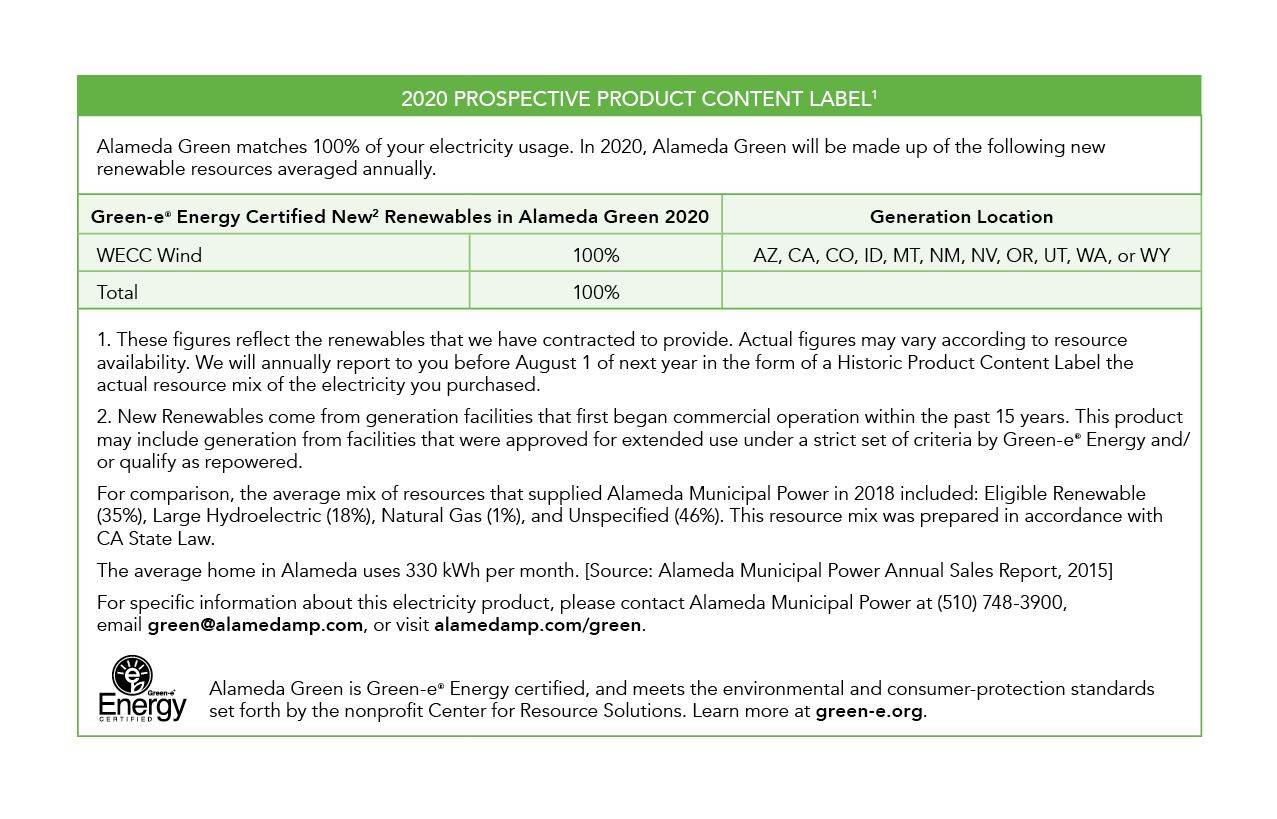Alameda Green Prospective Power Content Label 2020