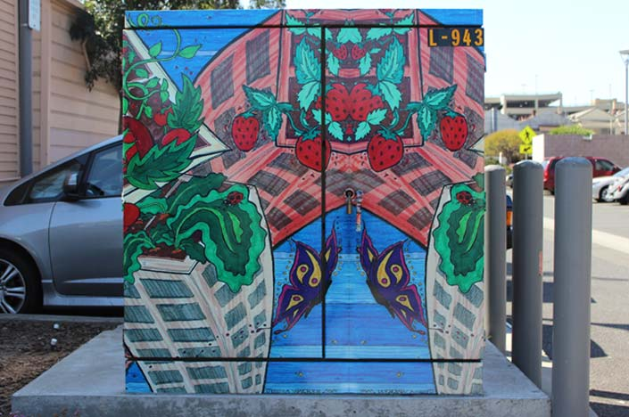 A power box with rooftop gardens painted on it.